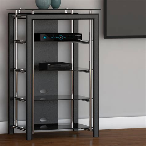 audio video tower cabinet midnight mist media stand in black amazon ca home kitchen