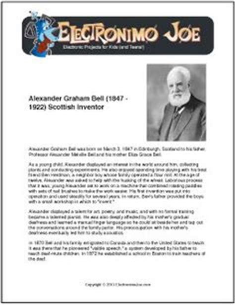 alexander graham bell biography worksheet nikola tesla free printable biography for kids great