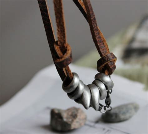 Mens Handmade Necklaces - leather metal s necklace handmade