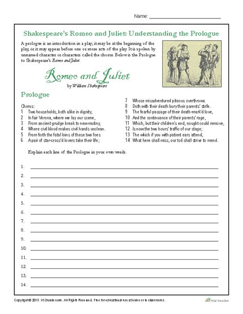 themes in hamlet worksheet shakespeare s romeo and juliet understanding the prologue