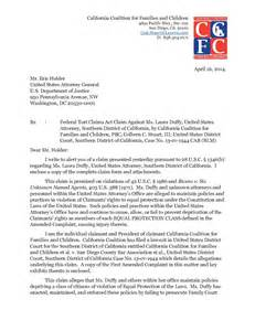 Claims Attorney Cover Letter california coalition delivers federal tort claims act claim against duffy to eric holder