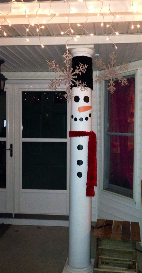 turn your front porch pillars in to snow men