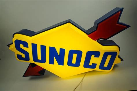 sunoco lighted signs for sale large sunoco single sided light up service station sign
