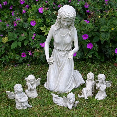 girl with 5 fairies garden ornaments fairy garden ornament
