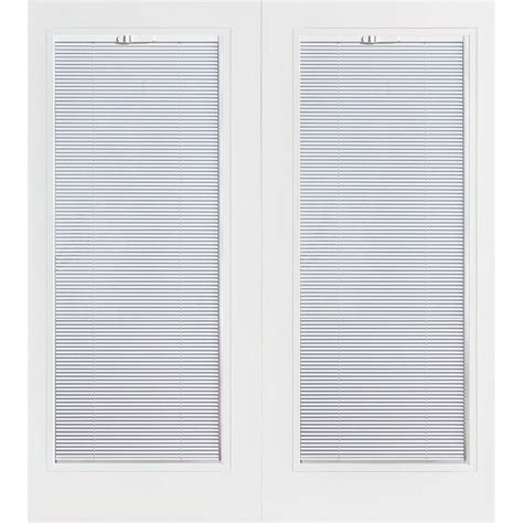 Mini Blinds For Patio Doors Masonite 72 In X 80 In Prehung Left Inswing Mini Blind Primed Smooth Fiberglass Patio