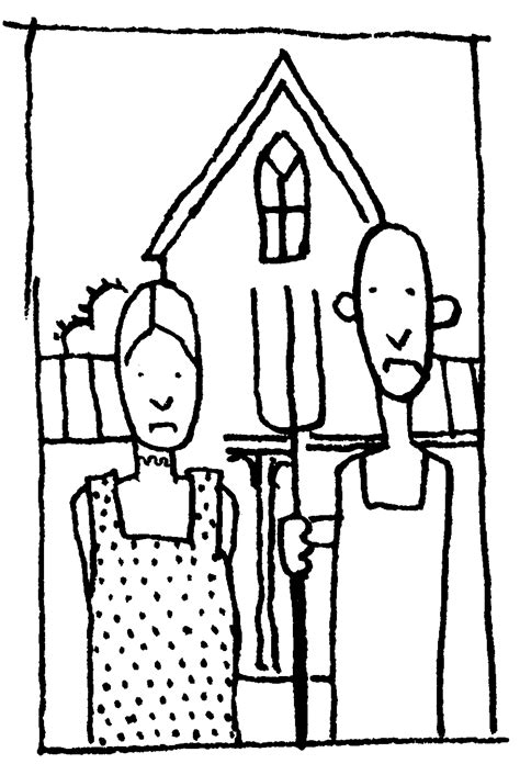 grant wood pages coloring pages