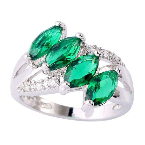 charming melody emerald white topaz silver ring nadine
