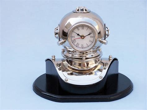 chrome theme clock chrome divers helmet clock on black rosewood base 12