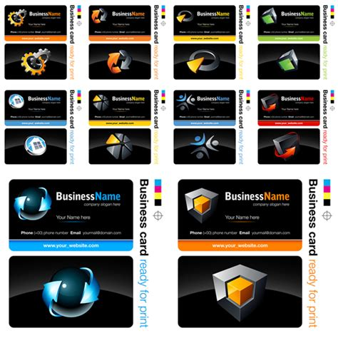 Hi Tech Business Card Template by Free Set Of Black Hi Tech Business Card Design Templates
