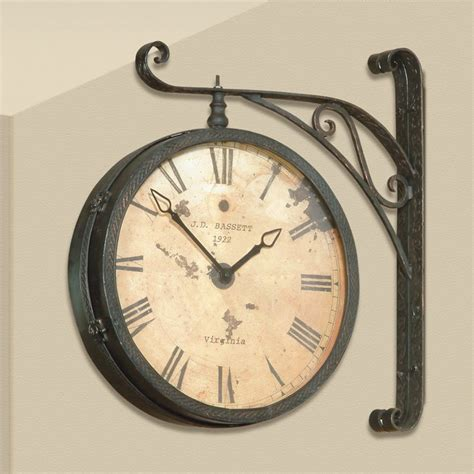 Bassett Dining Room Furniture by Dark Antique Gold Double Sided Hanging Wall Clock 20w In