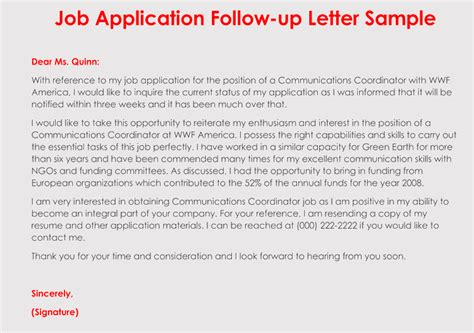how to format a follow up letter for your application