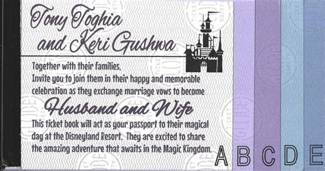 sending wedding invitations to disneyland tony s disneyland ticket book wedding invitations