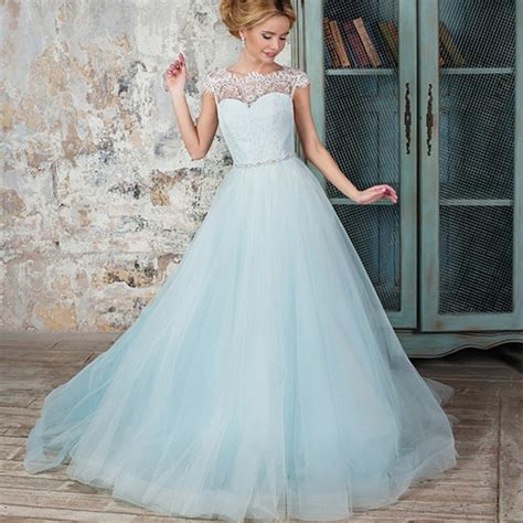 hochzeitskleid hellblau light blue colored boho wedding dress with cap sleeve lace
