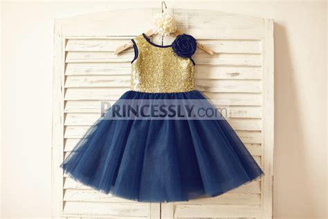 gold sequin navy blue tulle flower dress
