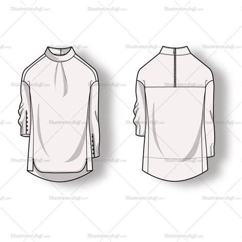 neck pattern sketch women s mock neck blouse fashion flat template