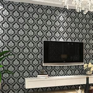 popular black damask wallpaper from china best selling