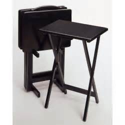 Folding Tv Tray Table Winsome Black 5 Pc Folding Tv Tray Set 150997 Kitchen Dining At Sportsman S Guide