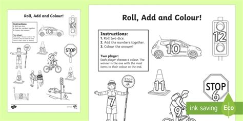 road safety addition roll and colour worksheet activity
