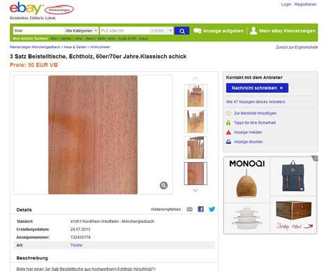 ebay kleinanzeigen beistelltisch satztische beistelltische nesting tables 3er aus holz