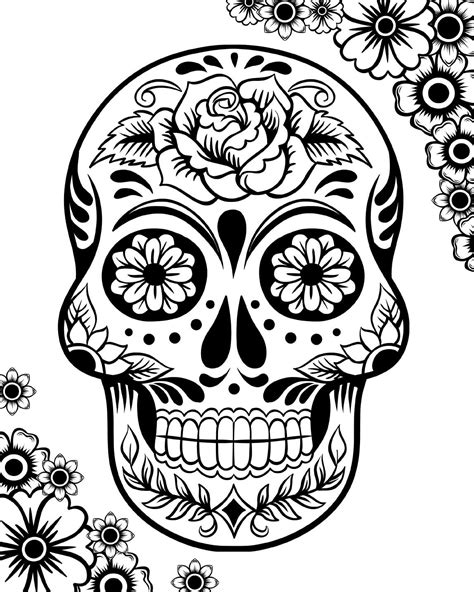 sugar skull coloring page pdf free printable day of the dead coloring pages best