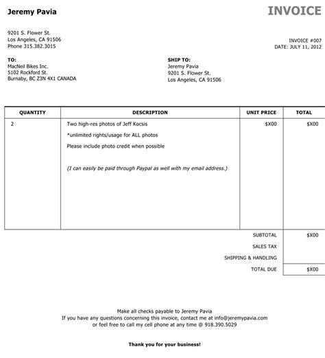 photography invoice template free to do list