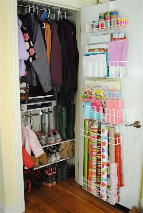 closet organization coat closet and wrapping paper organization