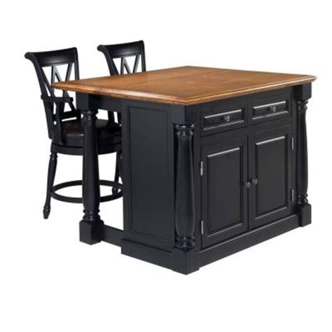 island for kitchen home depot home styles monarch kitchen island in black with oak top