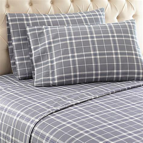 plaid bed sheets micro flannel 174 carlton plaid sheet set bed bath beyond