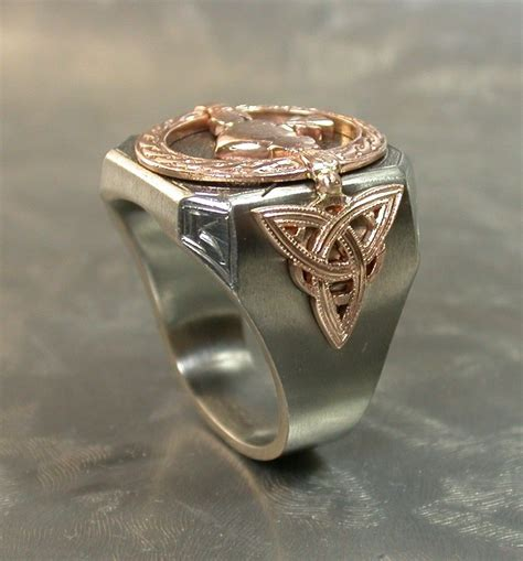 Hand Crafted Irish Men's Deco Ring by J Grahl Design