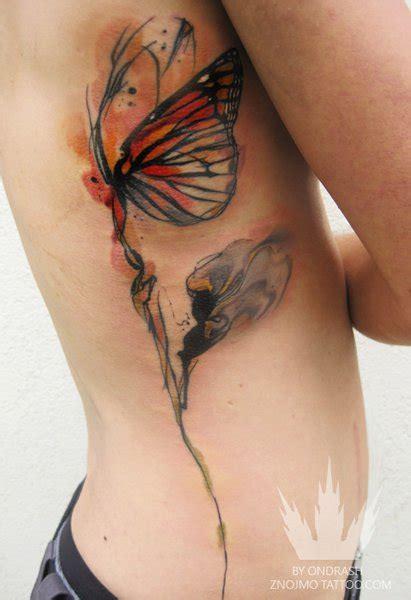 tattoo butterfly side flower side butterfly tattoo by ondrash tattoo