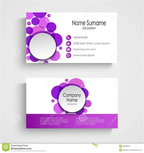 rounded corners business cards template modern violet business card template stock vector i