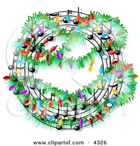 christmas music symbols decorated with lights clipart by
