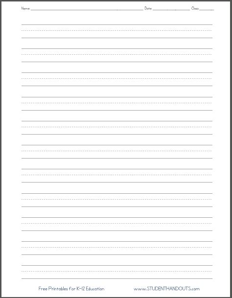 blank lined paper handwriting practice worksheet