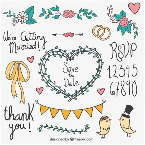 wedding design elements vector hand drawn wedding elements vector free download