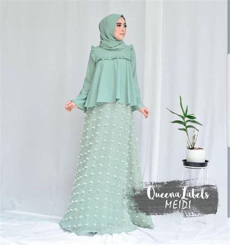 Maxi 2in1 Mint jual baju pesta muslim modern meidi set 2in1 murah