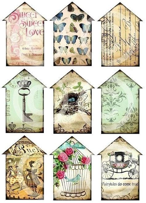 printable paper key tags little houses set of 9 carriage skeleton key crown nest