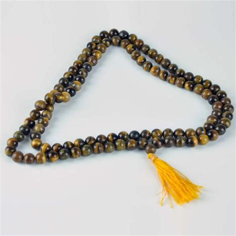 Mala Tiger Eye 8 Mm With Gold Vajra Ornament tiger eye 108 8mm bead gemstone mala necklace mala forest