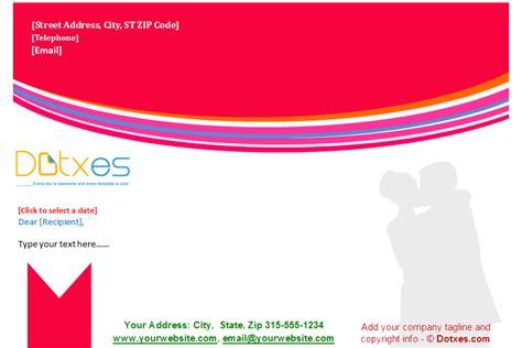 Wedding Letterhead Template Red Theme Dotxes Wedding Letterhead Templates Free