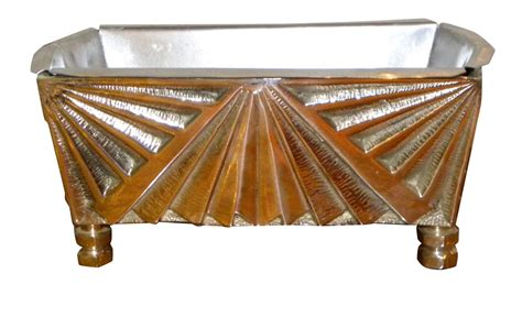 Deco Planter by Silver Bronze Deco Planter Sunburst Zig Zag Design