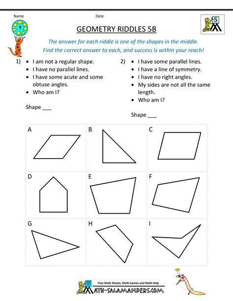 Puzzle Geometri geometry worksheets riddles