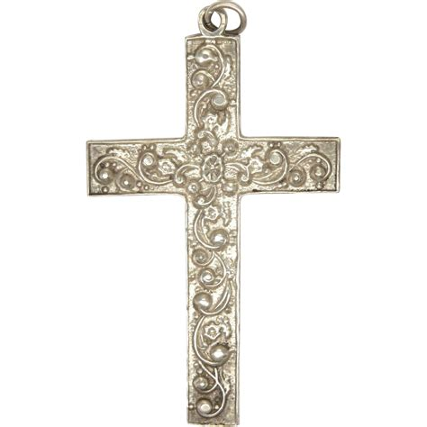 large sterling silver large sterling silver sided engraved cross from