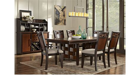 7 pc dining room set bedford heights cherry 7 pc dining room rectangle