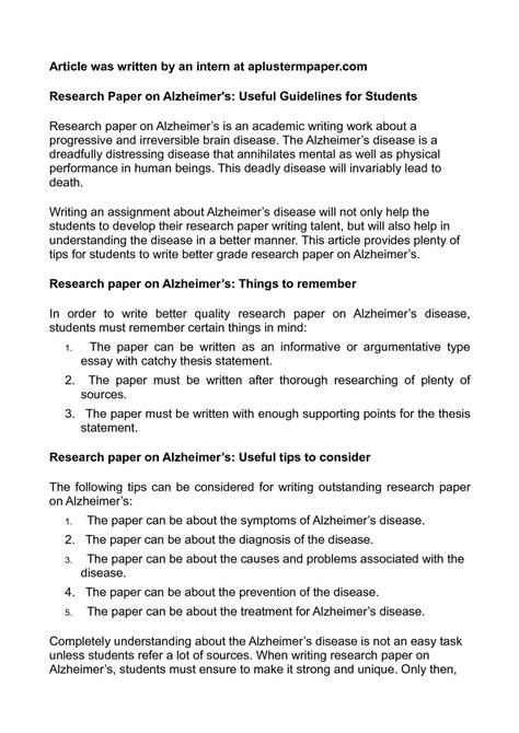 Failure Research Paper by Calam 233 O Research Paper On Alzheimer S Useful Guidelines For Students