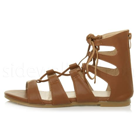 ankle tie sandals flat womens flat lace up strappy ankle tie gladiator