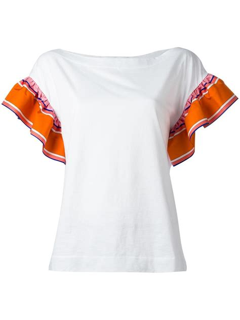 Sleeve Ruffled Shirt emilio pucci ruffled sleeves t shirt in white lyst