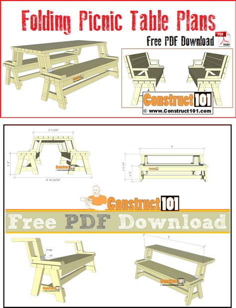 free folding picnic table bench plans pdf folding picnic table plans pdf construct101