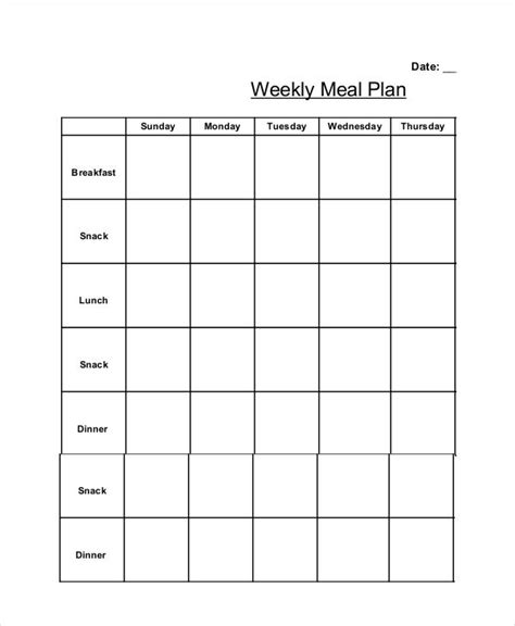 Weekly Meal Planner Template With Snacks Listmachinepro Com Weekly Meal Planner Template With Snacks