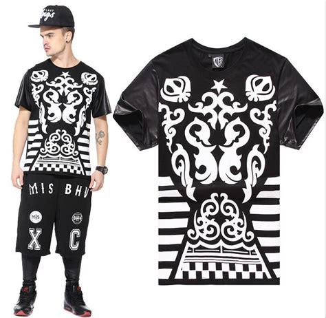 T Shirt Boy Swagg 2015 t shirt hip hop t shirt leather sleeve mens t shirts swag shirts camisetas hombre