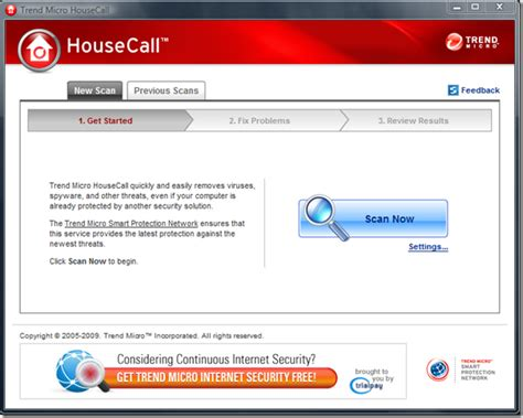 housecall trend trend micro housecall 7 1 full screenshot
