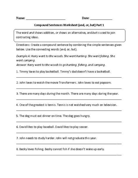 sentence patterns middle school and or but compound sentences worksheet grammar